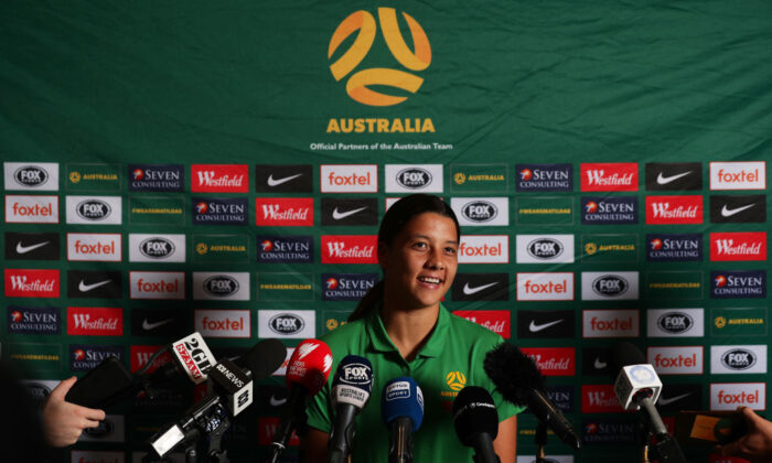 Samantha Kerr speaks to the media during an Australian Matildas media opportunity at The Intercontinental on February 05, 2020 in Sydney, Australia. (Photo by Matt King/Getty Images)