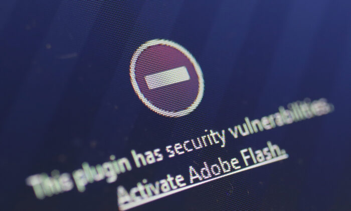 A window on an internet browser shows that it blocked the Adobe Flash plugin from activating due to a security issue, in Berlin, Germany, on July 14, 2015. (Sean Gallup/Getty Images)