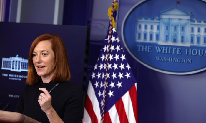 White House press secretary Jen Psaki participates in a press briefing at the White House in Washington on Jan. 22, 2021. (Alex Wong/Getty Images)