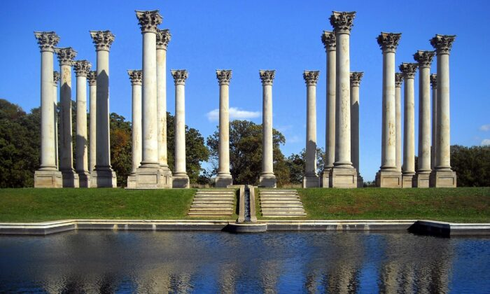 The original columns that supported the old East Portico of theU.S. Capitol are now at the National Arboretum. (CC-BY-SA-3.0)