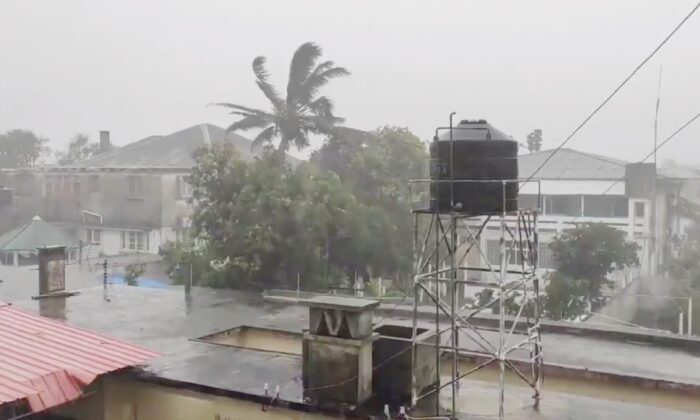Rain falls before the landfall of cyclone Eloise in Beira, Mozambique, on Jan. 22, 2021. (Obtained from social media by Reuters)