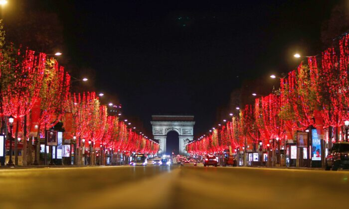 A view shows the deserted Champs Elysees avenue leading up to the Arc de Triomphe in Paris, France, on Dec. 15, 2020. (Gonzalo Fuentes/Reuters)