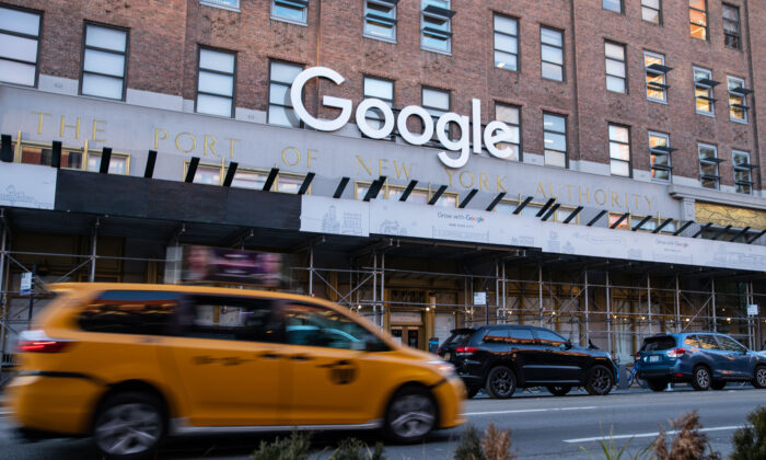 Google's New York office in lower Manhattan on Jan. 20, 2021. (Chung I Ho/The Epoch Times)