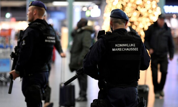 Dutch police patrol at Amsterdam's Schiphol airport, on Nov. 6, 2019. (Piroschka van de Wouw/Reuters)