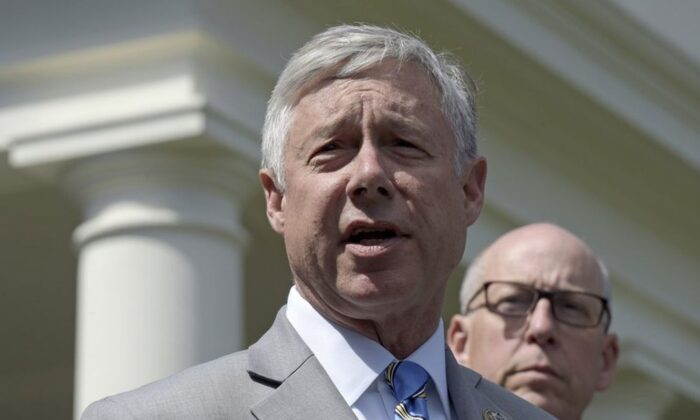 Rep. Fred Upton (R-Mich.) speaks to reporters outside the White House in Washington in this May 3, 2017, file photo. (AP Photo/Susan Walsh, File)