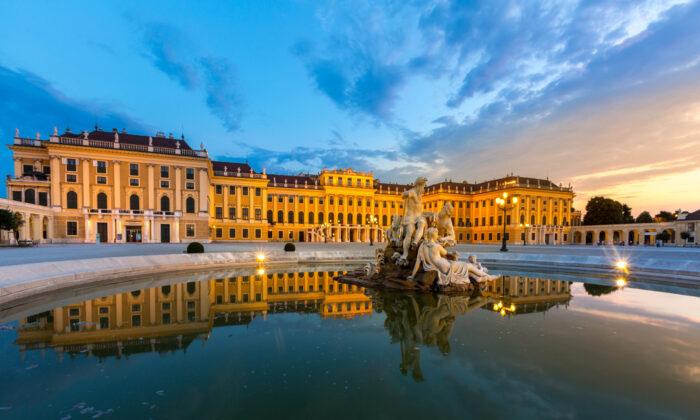 Schonbrunn Palace, Vienna, Austria illuminated by sunset.   (vichie81/Shutterstock)