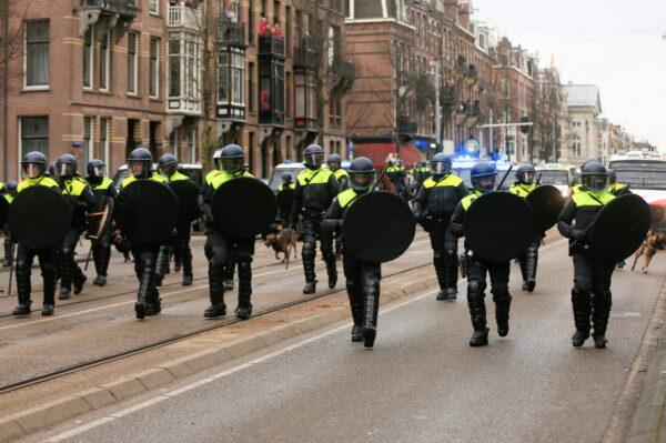 Police officer walk on a street