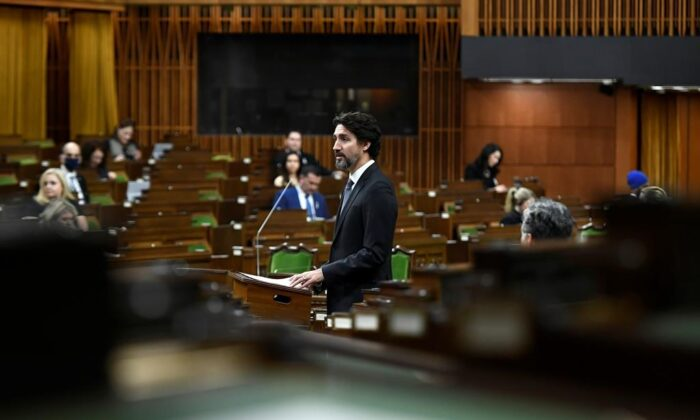 Prime Minister Justin Trudeau speaks in the House of Commons on Parliament Hill in Ottawa, on Dec. 3, 2020. (Justin Tang/The Canadian Press)