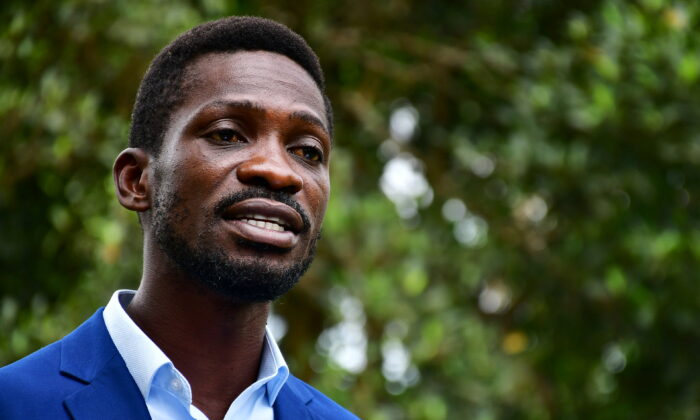 Ugandan presidential candidate and singer Bobi Wine addresses a news conference at his house in Magere neighbourhood of Kampala, Uganda, on Jan. 15, 2021. (Abubaker Lubowa/Reuters)