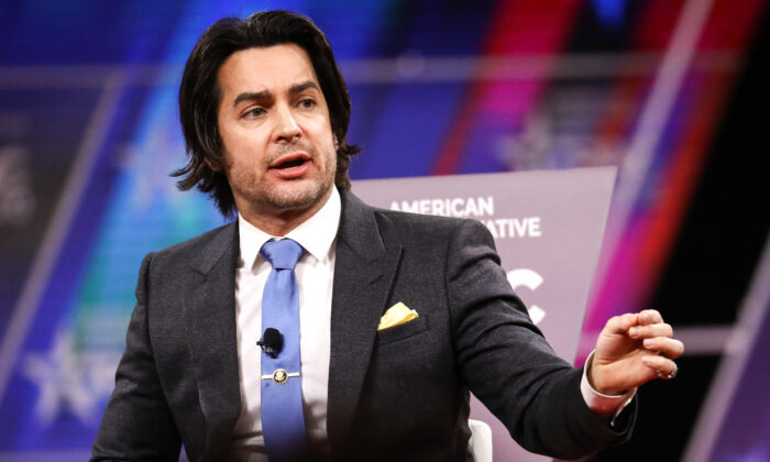 Brandon Straka, founder of the #WalkAway Campaign, speaks at the CPAC convention in National Harbor, Md., on Feb. 28, 2020. (Samira Bouaou/The Epoch Times)