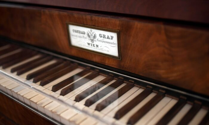 The keyboard of Beethoven's last grand piano, a pianoforte built by Viennese piano manufacturer Conrad Graf, is seen at the Beethoven House in Bonn, Germany, the native city of composer Ludwig van Beethoven, on Dec. 13, 2019. (Ina Fassbender/AFP via Getty Images)