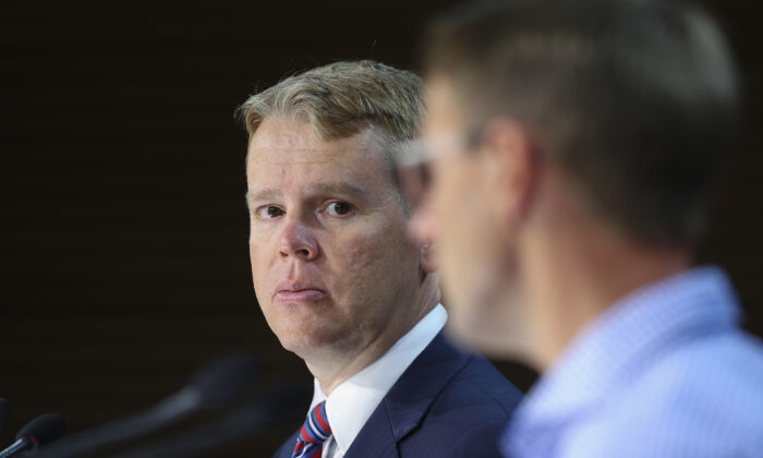 Minister for COVID-19 Response Chris Hipkins during a press conference at Parliament in Wellington, New Zealand on January 24, 2021. (Hagen Hopkins/Getty Images)
