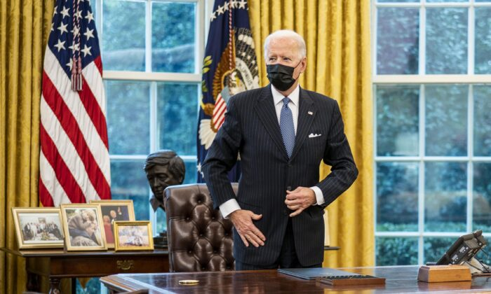President Joe Biden in the Oval Office of the White House on Jan. 25, 2021. (Doug Mills-Pool/Getty Images)