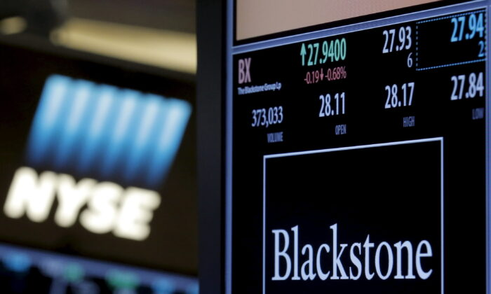 The ticker and trading information for Blackstone Group is displayed at the post where it is traded on the floor of the New York Stock Exchange (NYSE), on April 4, 2016. (Brendan McDermid/File Photo/Reuters)
