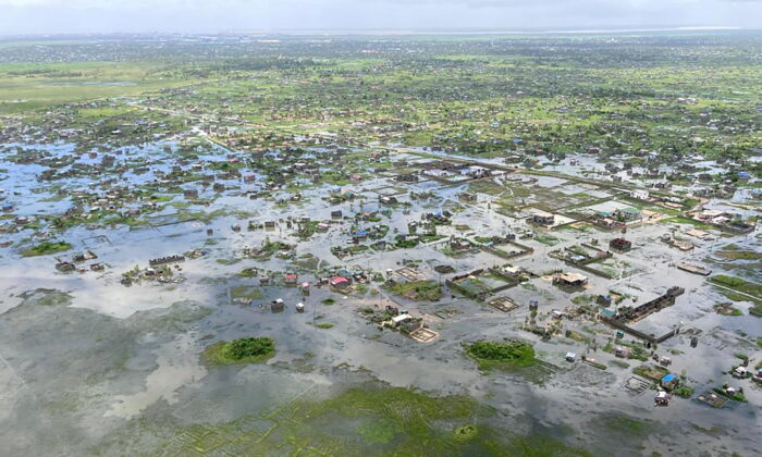 Aerial view of flooding after Tropical Cyclone Eloise, in Beira, Mozambique, on Jan. 22, 2021. (Courtesy of Mercy Air via Reuters)