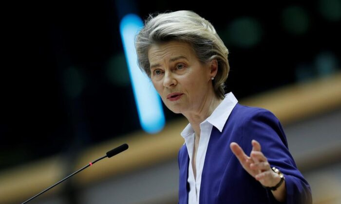 European Commission President Ursula Von Der Leyen addresses European lawmakers during the presentation of the program of activities of the Portuguese Presidency on a plenary session at the European Parliament in Brussels on Jan. 20, 2021. (Francisco Seco/The Canadian Press, Pool/ AP)