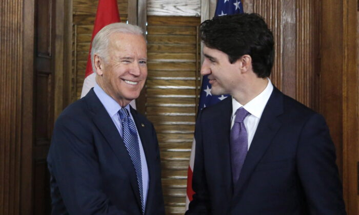 Prime Minister Justin Trudeau shakes hands with US Vice-President Joe Biden on Parliament Hill in Ottawa on Dec. 9, 2016. (Patrick Doyle/The Canadian Press)