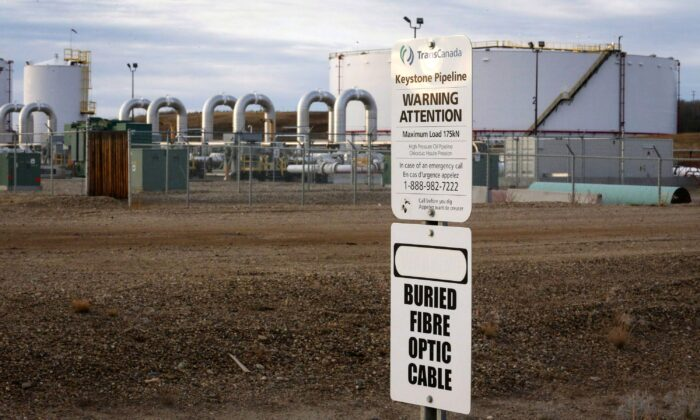 Keystone XL pipeline facilities are seen in Hardisty, Alta., in a file photo. The now-cancelled pipeline would have carried oilsands crude from Hardisty to the U.S. Gulf Coast. (The Canadian Press/Jeff McIntosh)