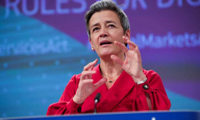 Margrethe Vestager, European Commissioner for A Europe Fit for the Digital Age, speaks at a news conference on the Digital Services and Digital Markets Acts at the European Commission headquarters in Brussels, Belgium on Dec. 15, 2020. (Olivier Matthys/Pool via Reuters File Photo)