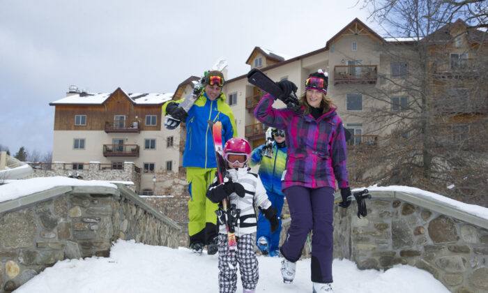 A family at Holiday Valley's Tamarack Club. (Courtesy of Holiday Valley)