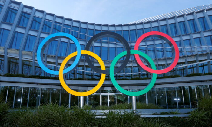 The Olympic rings are pictured in front of the International Olympic Committee (IOC) headquarters in Lausanne, Switzerland on Jan. 26, 2021. (Denis Balibouse/Reuters)