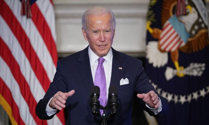 President Joe Biden speaks at the White House on Jan. 26, 2021. (Mandel Ngan/AFP via Getty Images)