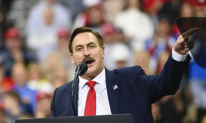 Mike Lindell, CEO of My Pillow, speaks during a campaign rally held by U.S. President Donald Trump in Minneapolis, Minn., on Oct. 10, 2019. (Stephen Maturen/Getty Images)