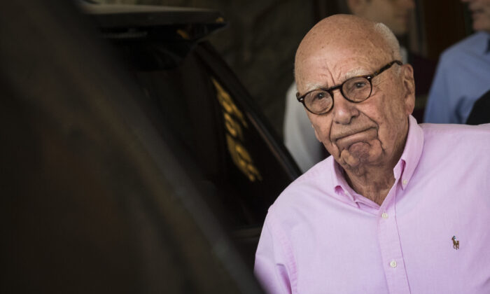 Rupert Murdoch, chairman of News Corp and co-chairman of 21st Century Fox, arrives at the Sun Valley Resort of the annual Allen & Company Sun Valley Conference in Sun Valley, Idaho, on July 10, 2018. (Drew Angerer/Getty Images)