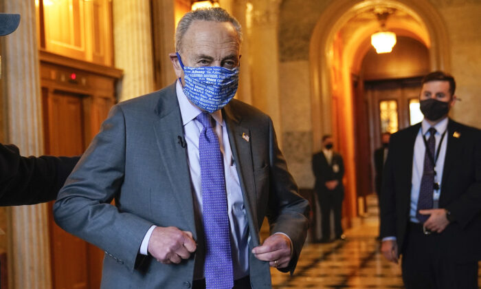 Senate Majority Leader Chuck Schumer of N.Y., heads to an interview on Capitol Hill in Washington, Jan. 25, 2021. (Susan Walsh/AP Photo)
