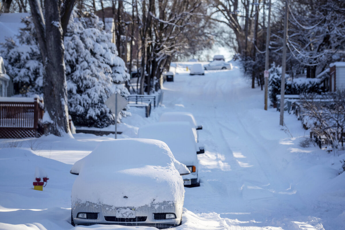 Snow covers cars