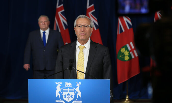 Ontario Minister of Economic Development, Job Creation and Trade Vic Fedeli speaks during the daily press briefing at Queen's Park in Toronto on June 2, 2020. (Rene Johnston - Pool/The Canadian Press)