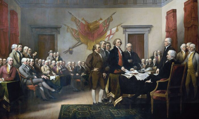 """The Signing of the Declaration of Independence,"" painted by John Trumbull, 1819. (Public Domain)"
