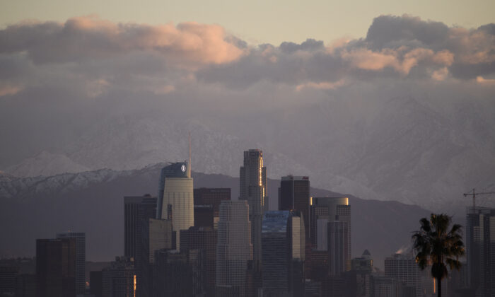 The Los Angeles downtown skyline in Los Angeles on Dec. 29, 2020. (Patrick T. Fallon/AFP via Getty Images)