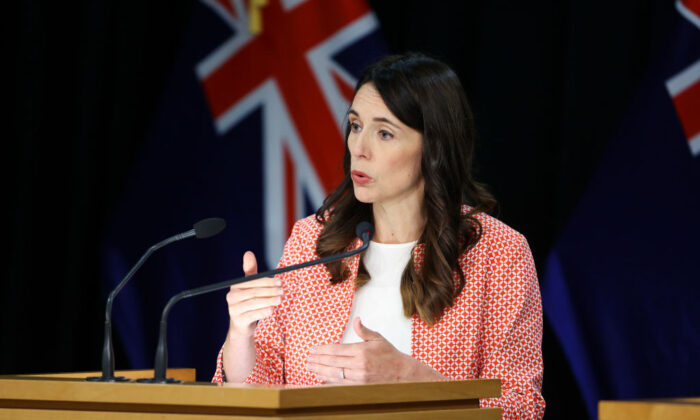 New Zealand Prime Minister Jacinda Ardern during a press conference at Parliament in Wellington, New Zealand on Jan. 26, 2021. (Hagen Hopkins/Getty Images)