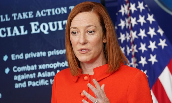 White House Press Secretary Jen Psaki speaks during the daily briefing in the Brady Briefing Room of the White House in Washington, on Jan. 26, 2021. (Mandel Ngan/AFP/Getty Images)