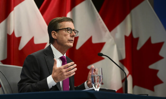 Governor of the Bank of Canada Tiff Macklem holds a press conference in Ottawa on Oct. 28, 2020. (The Canadian Press/Sean Kilpatrick)