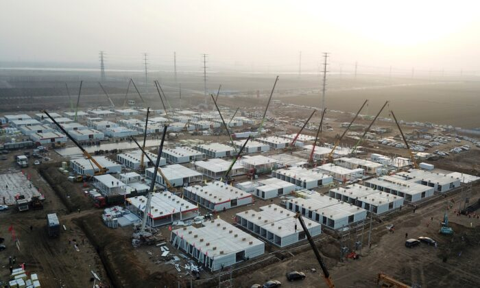 """The under-construction centralized quarantine facilities, where people at risk of contracting COVID-19 are to be taken into quarantine in Shijiazhuang, in northern Hebei province after the province declared an """"emergency state,"""" on Jan. 16, 2021. (STR/CNS/AFP via Getty Images)"""