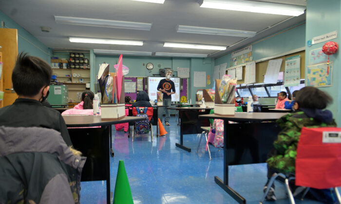 A view of a teacher and students at Yung Wing School P.S. 124 in New York City on Jan. 13, 2021. (Michael Loccisano/Getty Images)