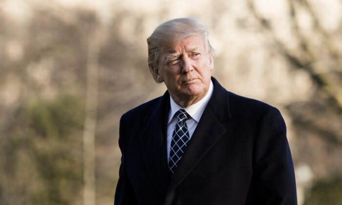 Then-President Donald Trump returns to the White House in Washington on March 25, 2018. (Samira Bouaou/The Epoch Times)
