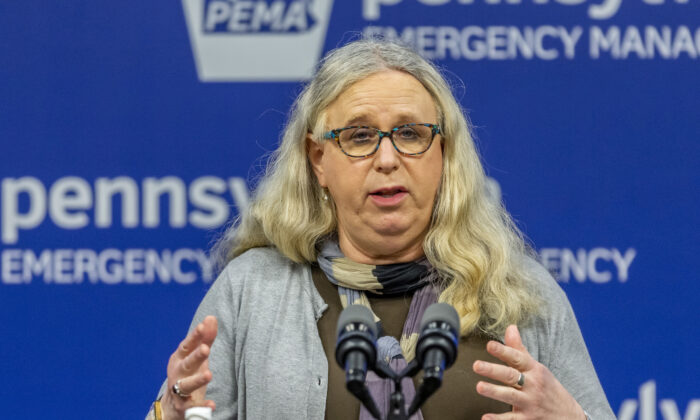 Pennsylvania Secretary of Health Dr. Rachel Levine meets with the media at the Pennsylvania Emergency Management Agency (PEMA) headquarters in Harrisburg, Pa., on May 29, 2020. (Joe Hermitt/The Patriot-News via AP)