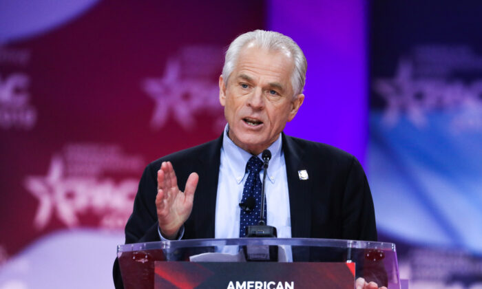 Peter Navarro, then-director of the White House National Trade Council, at the CPAC convention in National Harbor, Md., on March 1, 2019. (Samira Bouaou/The Epoch Times)