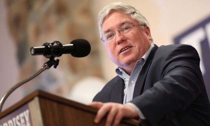West Virginia Attorney General Patrick Morrisey speaks at an event in Inwood, W.Va., on Oct. 22, 2018. (Win McNamee/Getty Images)