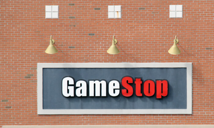The sign of GameStop in seen in Levittown, N.Y., on March 16, 2020. (Bruce Bennett/Getty Images)