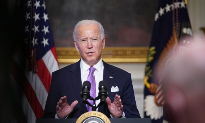 U.S. President Joe Biden speaks on COVID-19 response in the State Dining Room of the White House, on Jan. 26, 2021. -(Mandel Ngan/AFP via Getty Images)