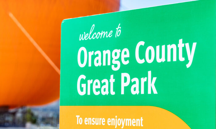 A sign for Orange County's Great Park in Irvine, Calif., on Jan. 26, 2021. (John Fredricks/The Epoch Times)
