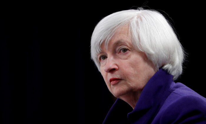 Treasury Secretary and former Federal Reserve Chair Janet Yellen holds a news conference after a two-day Federal Open Market Committee (FOMC) meeting in Washington, on Dec. 13, 2017. (Jonathan Ernst/Reuters)