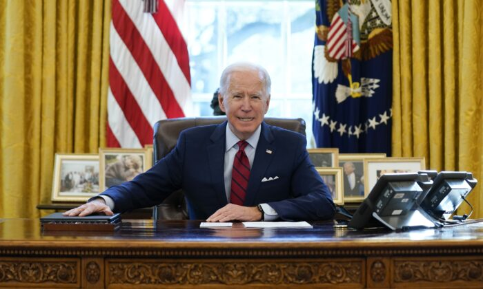President Joe Biden delivers remarks on health care in the Oval Office of the White House in Washington on Jan. 28, 2021. (Evan Vucci/AP Photo)