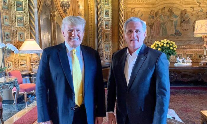 Former President Donald Trump poses with House Minority Leader Kevin McCarthy (R-Calif.) on Jan. 28, 2021. (Save America PAC)