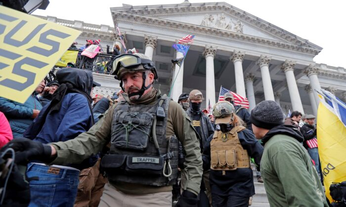 Members of the Oath Keepers are seen during a protest against the certification of the 2020 U.S. presidential election results by the U.S. Congress, at the U.S. Capitol in Washington on Jan. 6, 2021. (Jim Bourg/Reuters)