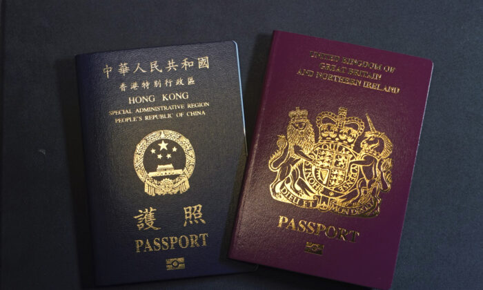 A British National Overseas passport (BNO) and a Hong Kong Special Administrative Region of the People's Republic of China passport are seen in Hong Kong, on Jan. 29, 2021. (Kin Cheung/AP Photo)